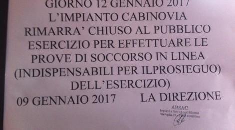 Impianti di risalita di Camigliatello - Chiusura del 12/01/2017 REVOCATA